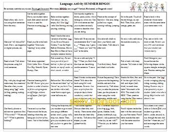 Summer Language Bingo