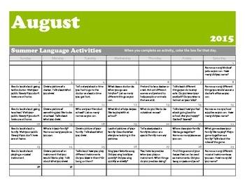 Summer Language Calendar for Pre-K/K 2015- Freebie!