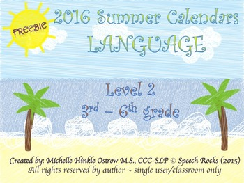 Summer Language Calendars 2016 ~ 3rd-6th grade {FREEBIE}