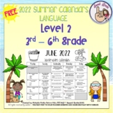Summer Language Calendars 2019 ~ 3rd-6th grade {FREEBIE}