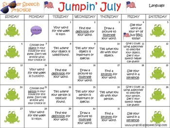 Summer Language Carryover Calendar