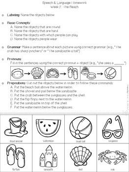 No Prep Summer Language Homework Packet