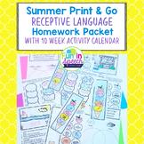 Summer Language Homework Sheets- 10 Week Calendar of Activities- Speech Therapy
