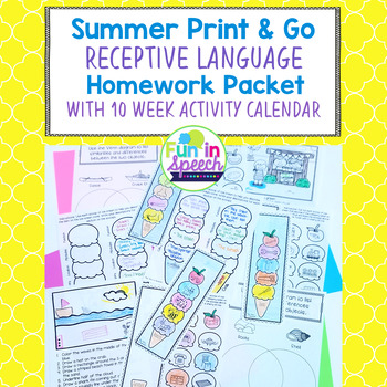 Summer Language Homework Sheets- 10 Week Calendar of Activities- Speech Therapy