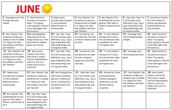 Summer Language Practice Calendar