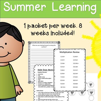 Summer Learning Folder - 3rd Grade Entering 4th - 8 Weeks of Learning & Fun!