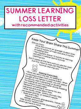 FREEBIE - Summer Learning Loss Letter with Summer Learning Activities