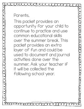 Summer Packet - Learning on the Go: Family Field Trips (3rd-6th grade)