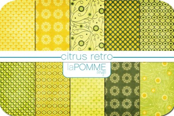 Summer Lemonade Limeade Citrus Digital Paper Pack