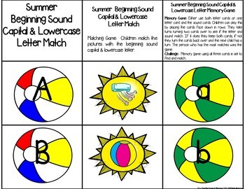 Summer Letter & Sound Match Game