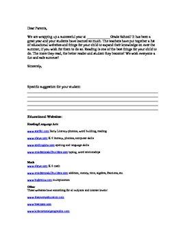 Summer Letter for Parents