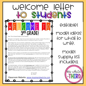 Back to School Letter (To Students)