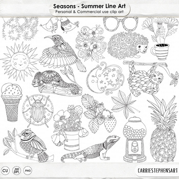 Summer Line Art Illustration, Seasonal Doodles, Hand Drawn Nature