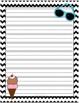 Summer Lined Writing Paper Set of 4