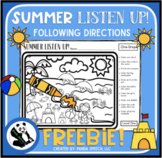 Summer Listen Up! Following Directions FREEBIE