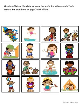 Summer Listening Comprehension Picture Matching