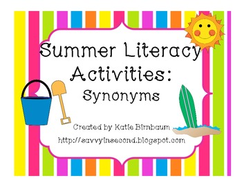 Summer Literacy Activities: Synonyms