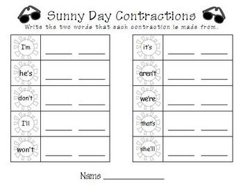 Summer Literacy Center - Contractions
