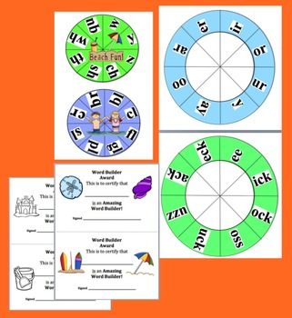Summer Activities: Build A Word Wheels - Onset Rime - End of the Year Activities