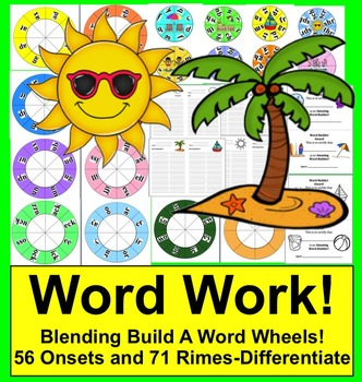 Summer Activities: Build A Word Wheels - Onset Rime - End