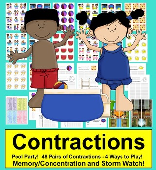 Summer Themed Contractions Center for End of the Year Practice or Summer School