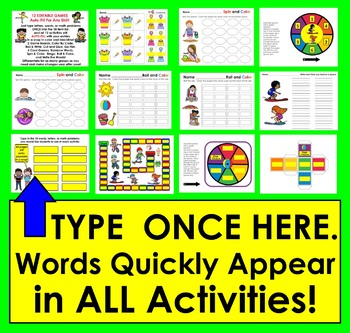 EDITABLE Games and Activities Auto-Fill from ANY LIST Summer School