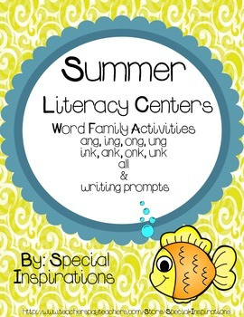 Summer Literacy Centers & Writing Prompts