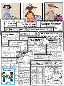 Summer Worksheets-  80+ Literacy & Math worksheets for summer (KINDERGARTEN)