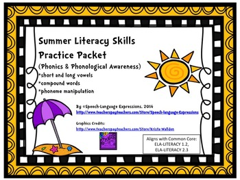 Reading Practice Packet (Summer, Phonology, Phonological Awareness)