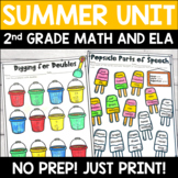 Summer ELA and Math No Prep Printable Activities for 2nd Grade
