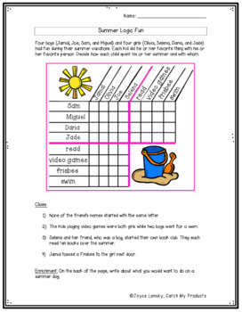Summer Logic Puzzle to Challenge Bright Kids