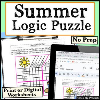 Summer Logic Puzzle to Challenge Bright Kids