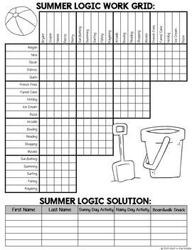 Summer Logic Puzzle for Middle School - End of Year Activity