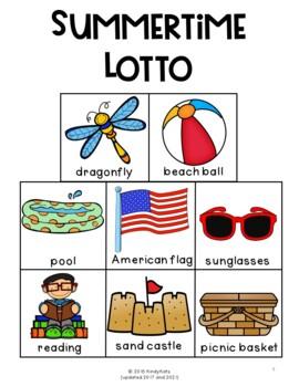 Summer Lotto, End of School, Summer Vocabulary