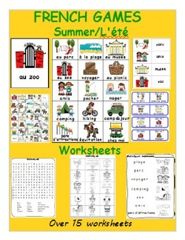 Summer / L'été FRENCH Worksheets and Games Pack
