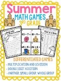 Summer MATH Games 3rd Grade NO PREP Multiplication, Division, Addition Games