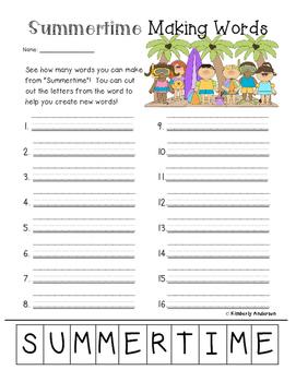 Freebie: Summer Making Words Activity