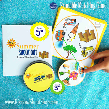 "Summer Matching Game SHOUT OUT, 31 Printable 3"" Cards"