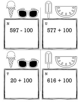 Summer Math 2nd Grade Scavenger Hunt Game Bundle