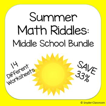 Summer Math Riddles: Middle School Bundle