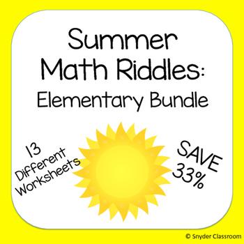 Summer Math Riddles : Elementary Bundle
