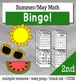 Summer Math 2nd Grade BINGO Game Bundle