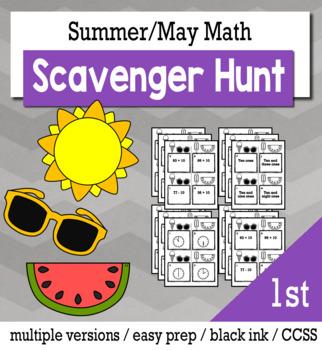 Summer Math 1st Grade Scavenger Hunt Game Bundle