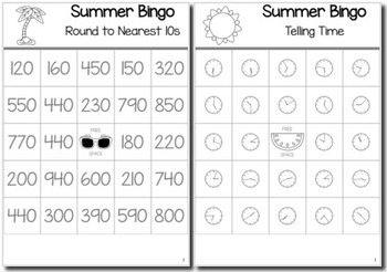Summer Math 3rd Grade BINGO Game Bundle