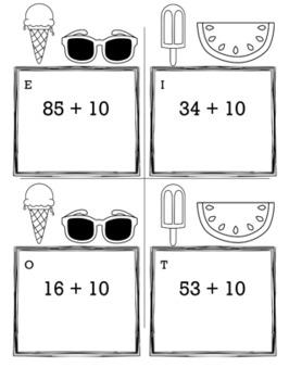 Summer Math Kindergarten Scavenger Hunt Game Bundle