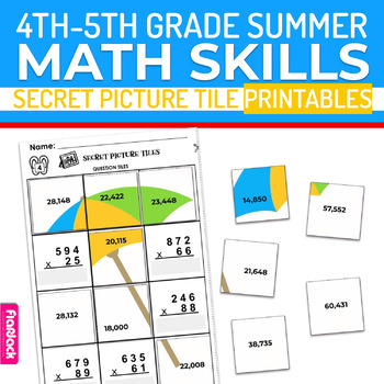 Summer Math 4th-5th Grade Worksheets   Secret Picture Tiles