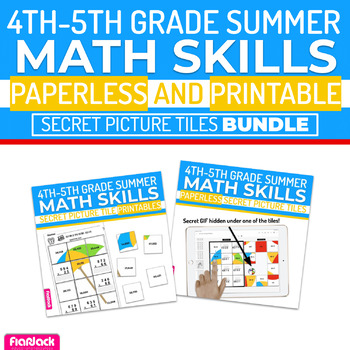Summer Math | 4th-5th | Paperless Printable Secret Picture Tiles SET