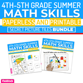 Summer Math | 4th-5th | Paperless Printable Secret Picture