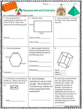 Summer Math:  5th & 6th Grade