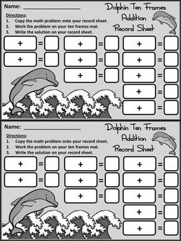 Summer Math Activities: Dolphin Ten Frames Math Center Activity